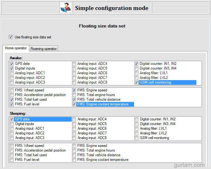 Выбор контролируемых параметров в BCE Device Setting Wizard (Simple mode)