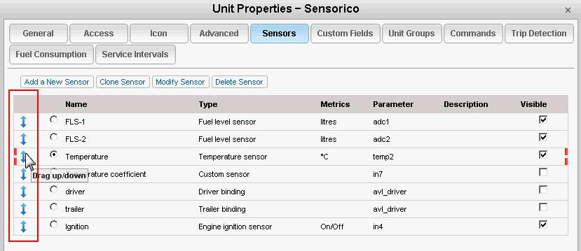 Unit properties and sensors in Wialon Hosting