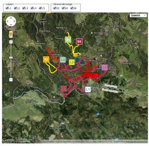 Карта с изображением доступных лыжных трасс