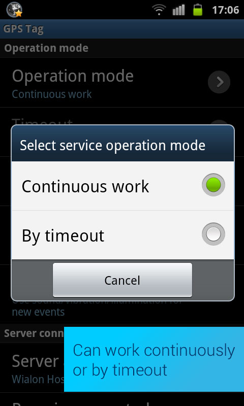 GPS Tag Pro Has two working modes:continuous and with timeouts