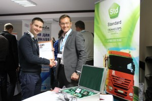 "Standard CEO Roman Bille and Aliaksei Shchurko at Gurtam partner conference ""Telematics 2012. Anniversary"""