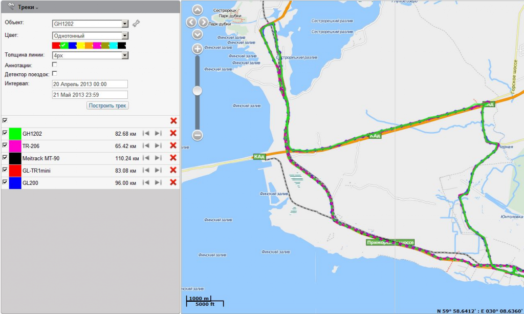 Full track, depicted by all tested personal trackers