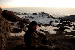 Aliaksei Shchurko mets the dawn at 5895 meters above sea level