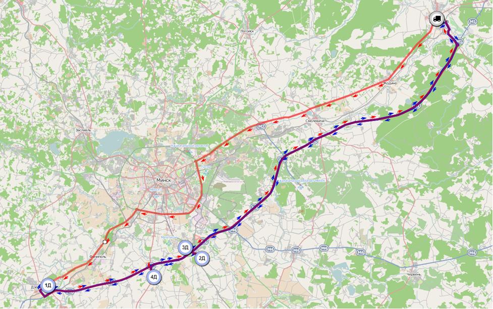 Сравнение планового и фактического маршрутов на карте