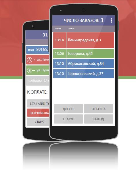 Внешний вид приложения для смартфонов водителей «Таксометр»